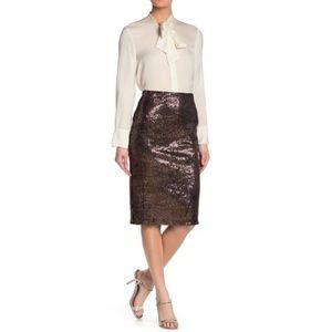 EVERLEIGH | Sequin Velour Pencil Skirt Mauve M